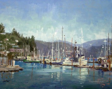 Newport Harbor Thomas Kinkade Beach Oil Paintings